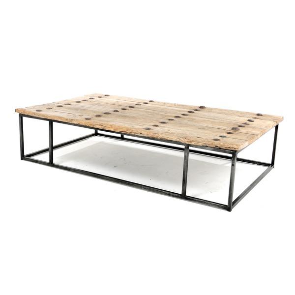unieke salontafel met oude houten deur op zwart metalen frame