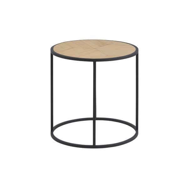 Rond tafeltje met houten blad op metalen onderstel