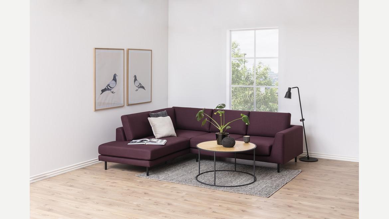 Ronde salontafel met houten bovenblad en metalen onderstel