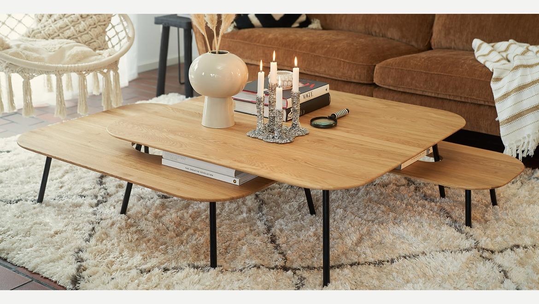 originele afgeronde eiken salontafels in Scandinavische stijl