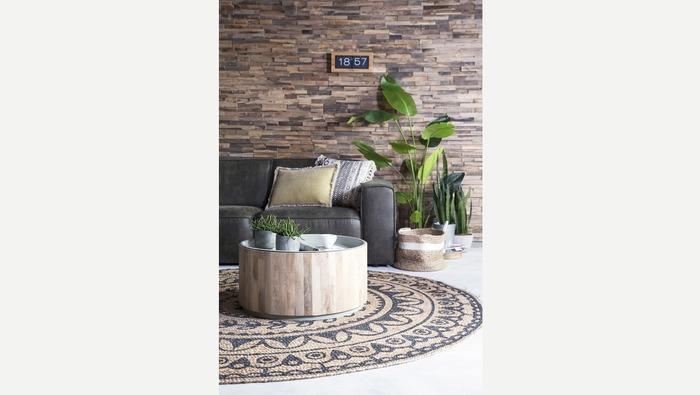 Ronde salontafel met houten omkisting en wit blad
