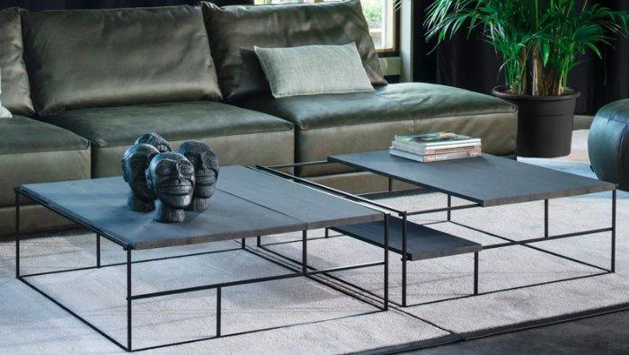 aanpasbare salontafel in hout op metalen frame