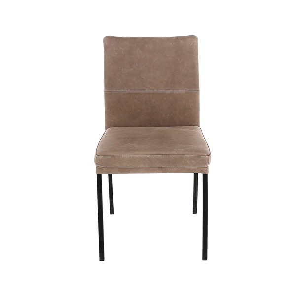 Moderne stoel sober in leder op zwarte metalen poten