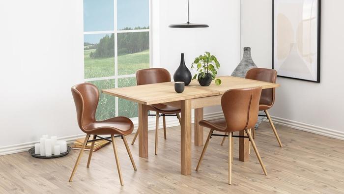 Designstoel in lederlook cognac op houten poten