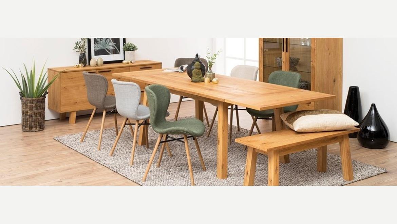 Moderne design stoel in stof op houten poten