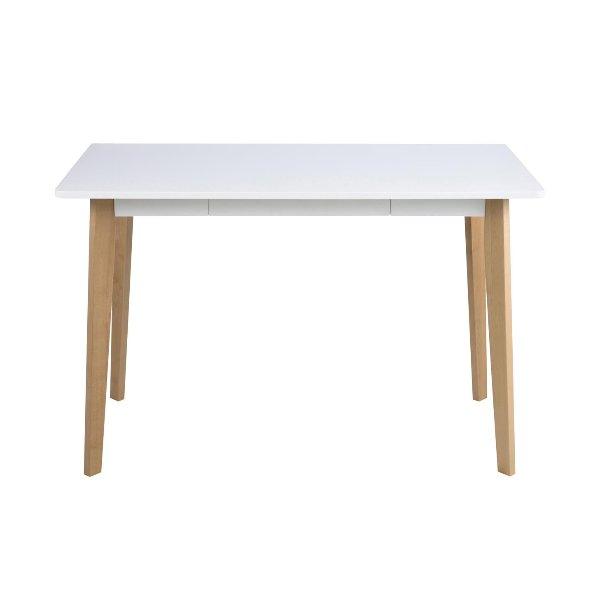 Kleine eettafel wit gelakt bovenblad op houten poten
