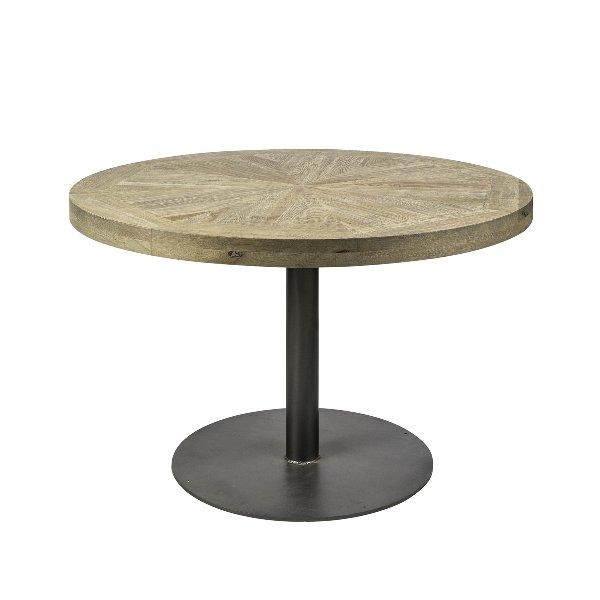 Ronde tafel in hout op metalen koker voet