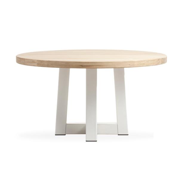 Ronde tafel op witte metalen poot en massief blad