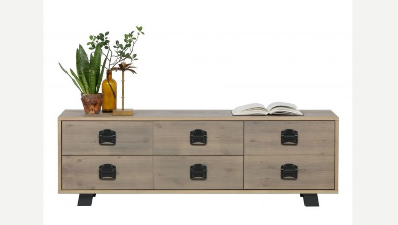 Tv meubel in hout op poten met 2 lades en 1 kastdeur