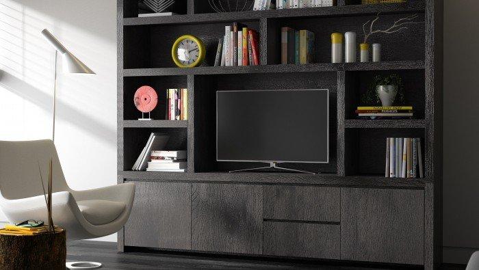 Grote wandkast voor tv en boekenkast in eik