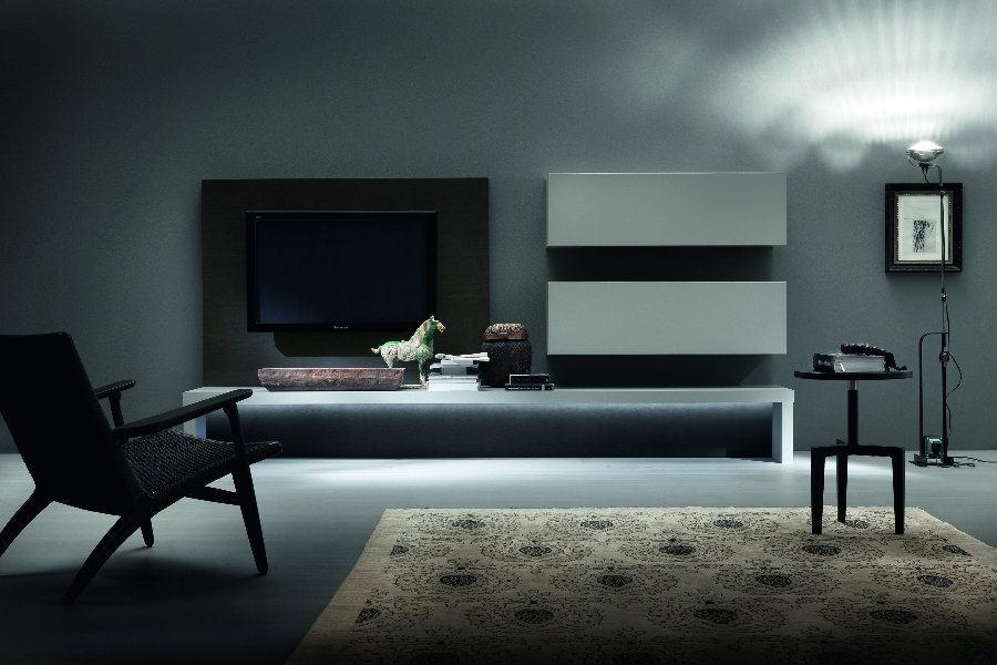 Tv-wand Lounge TV-kasten Italian Design Lak mat Wit maatwerk