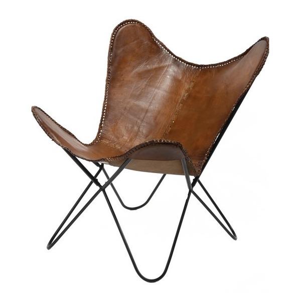 Vlinderstoel leder