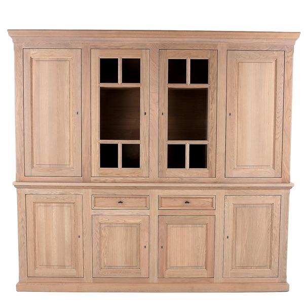 Wandkast 4 deuren in eik met 2 vitrine deuren