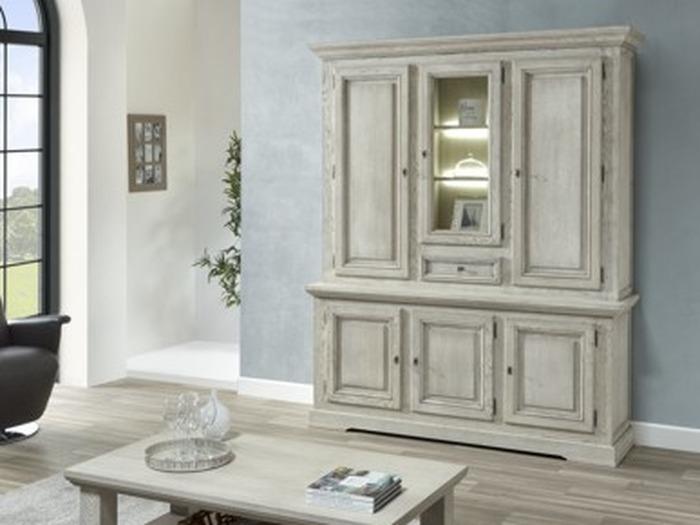 Klassieke 3 deurs wandkast met vitrine in wit