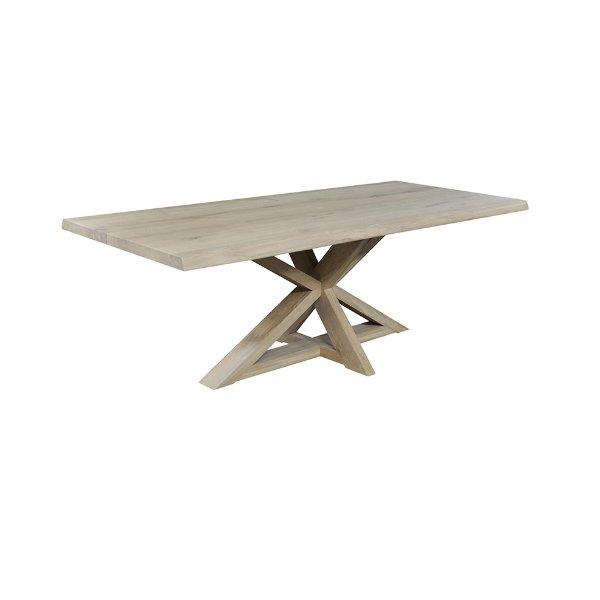 Massieve tafel met boomstamrand op centrale poot in stervorm