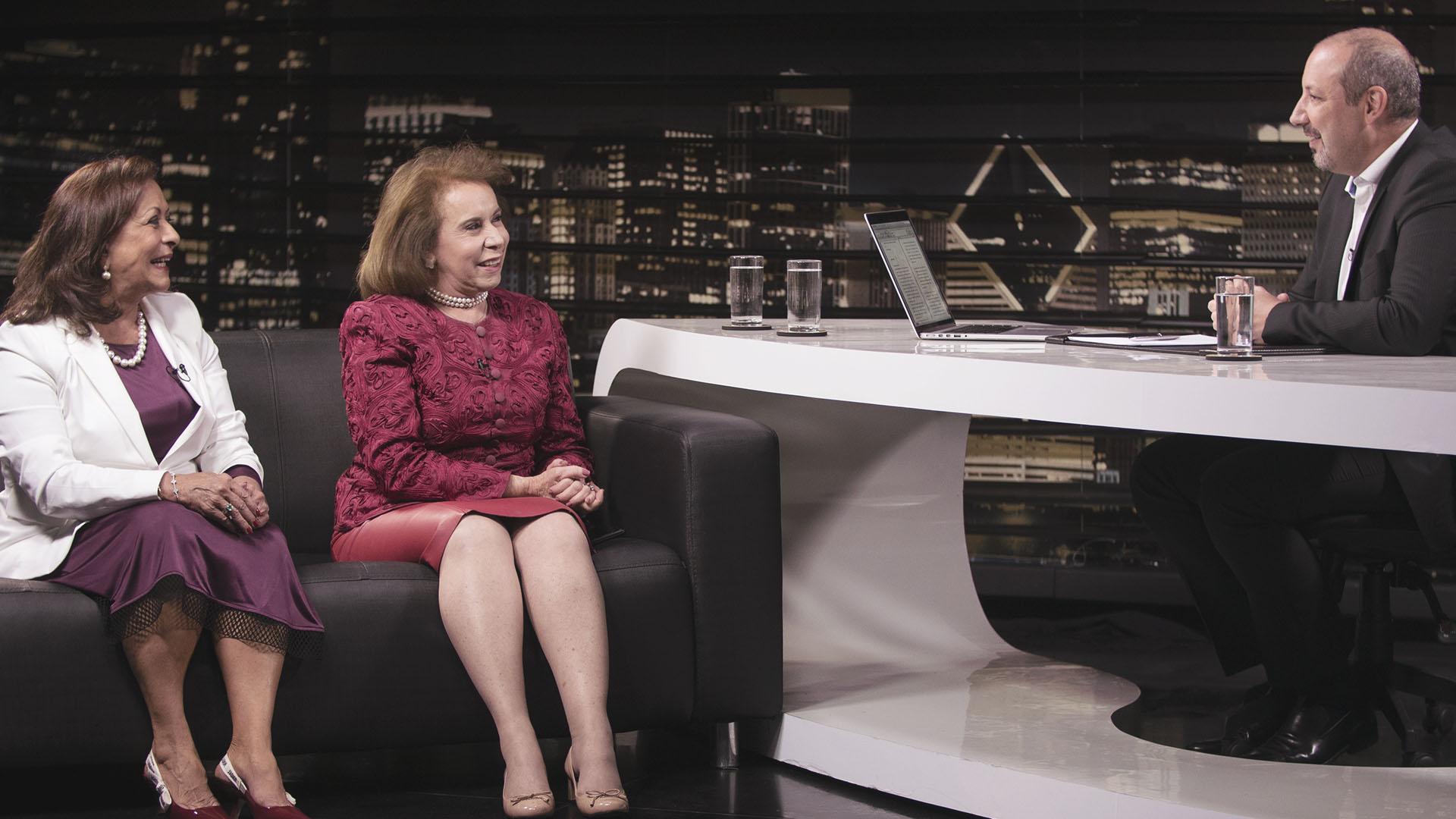 Janete Vaz (esquerda) e Sandra Costa (direita) durante gravação do Estudo de Caso do meuSucesso