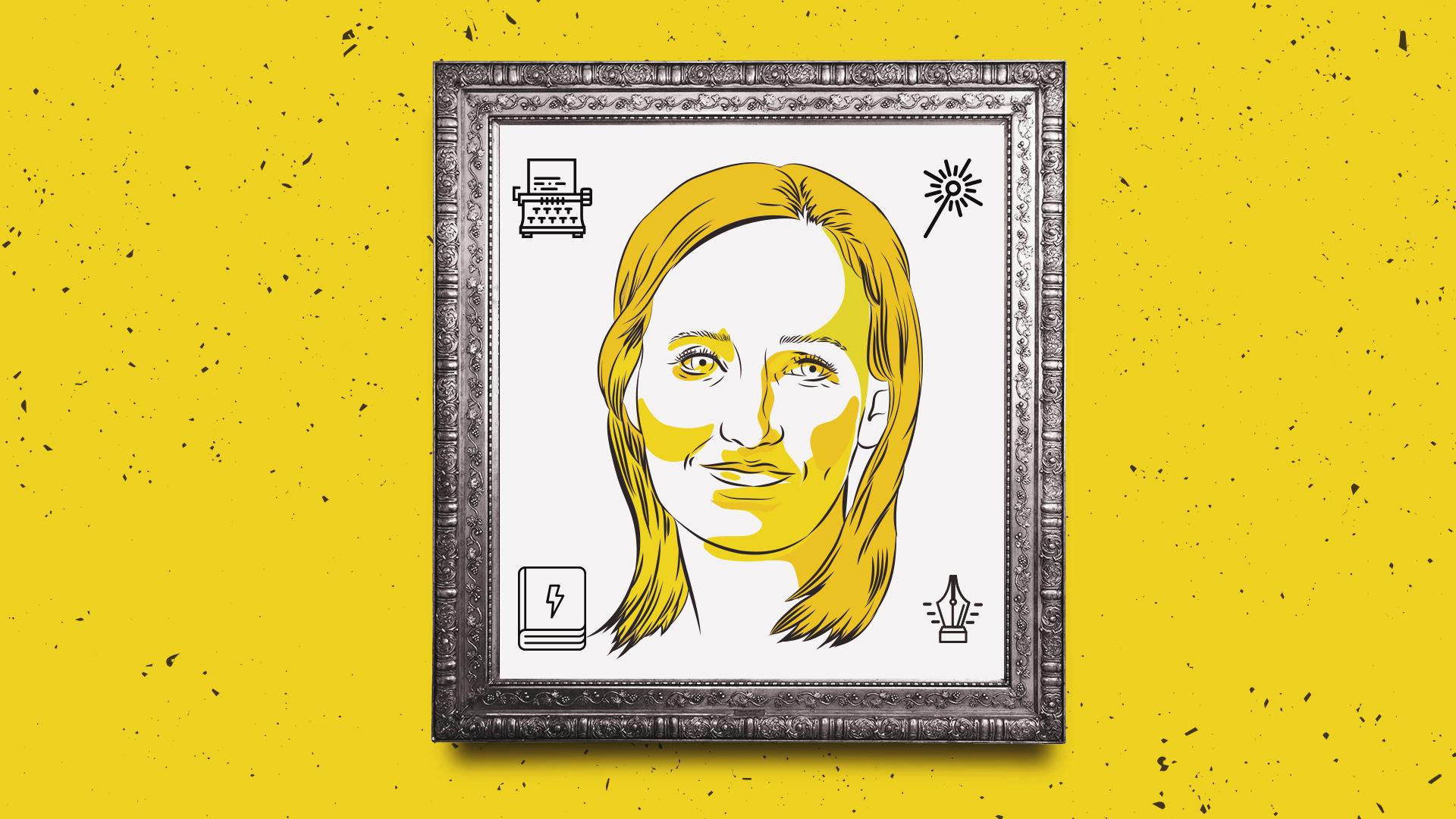 Ilustração do rosto da escritora J.K. Rowling