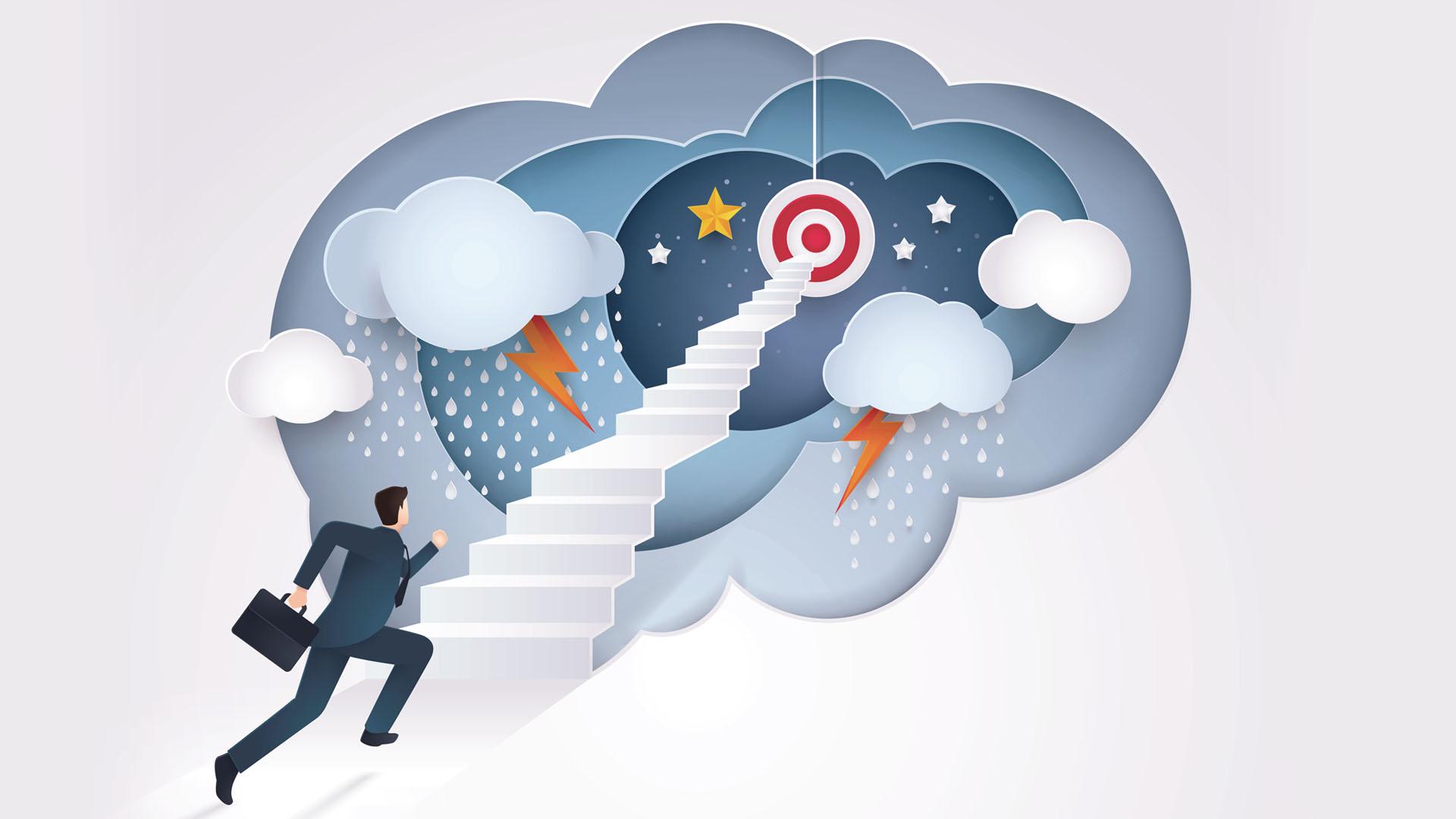 Ilustração de empreendedor sobrevivendo aos desafios do negócio próprio.