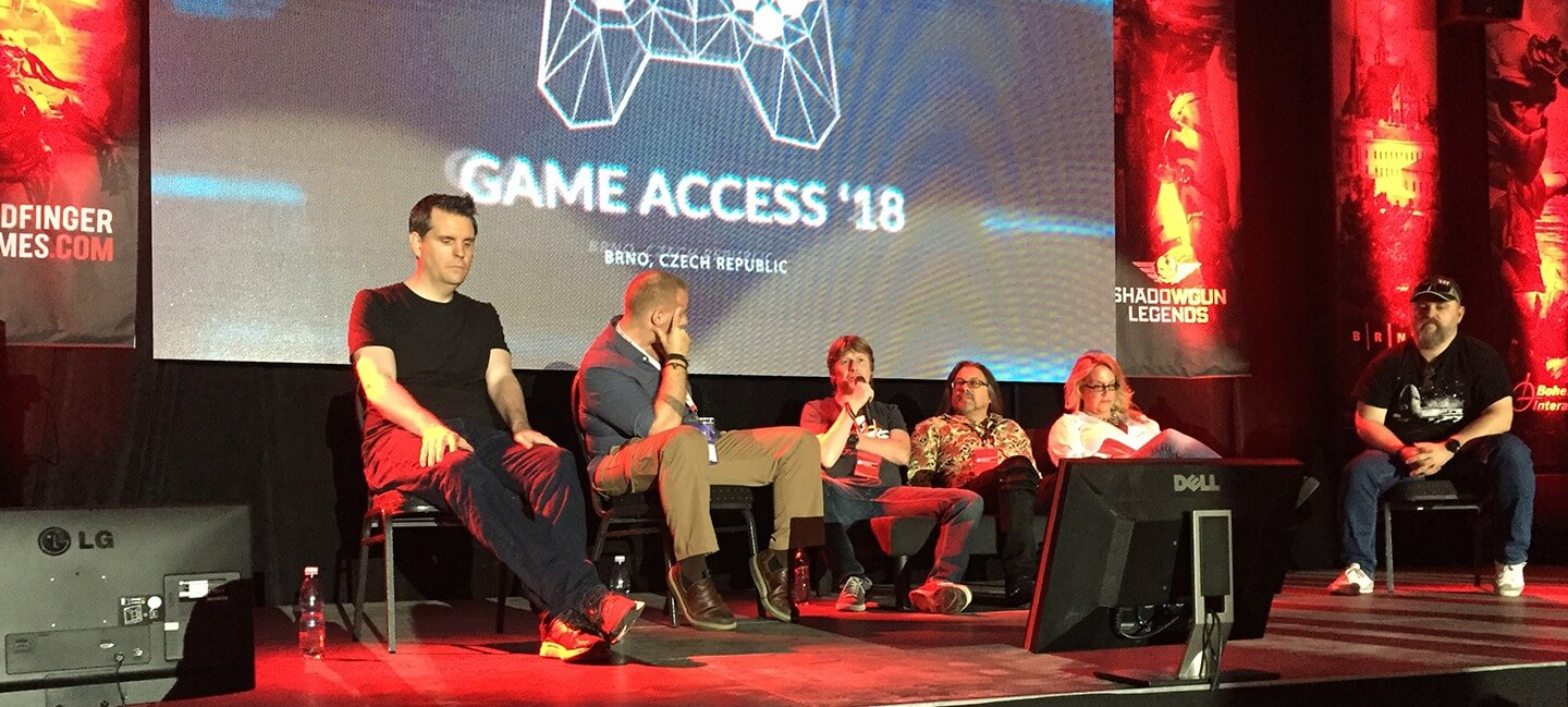 CEO Marek Rabas talking at Game Access 2018