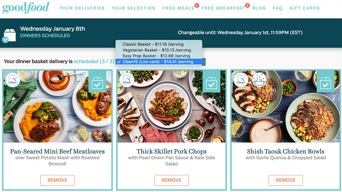 3 Clean15 menu options on the Goodfood selection page