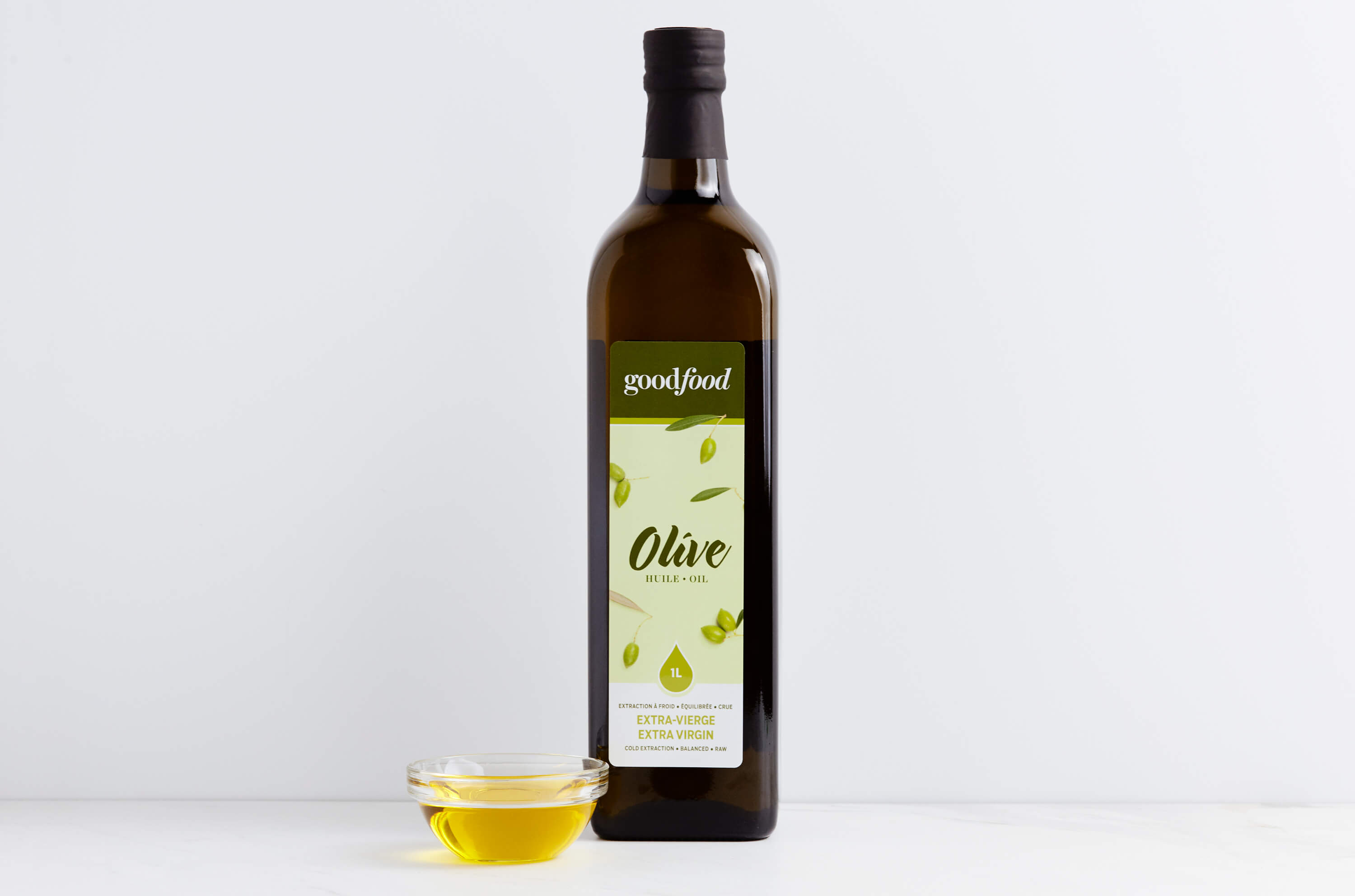 A bottle of Goodfood extra virgin olive oil