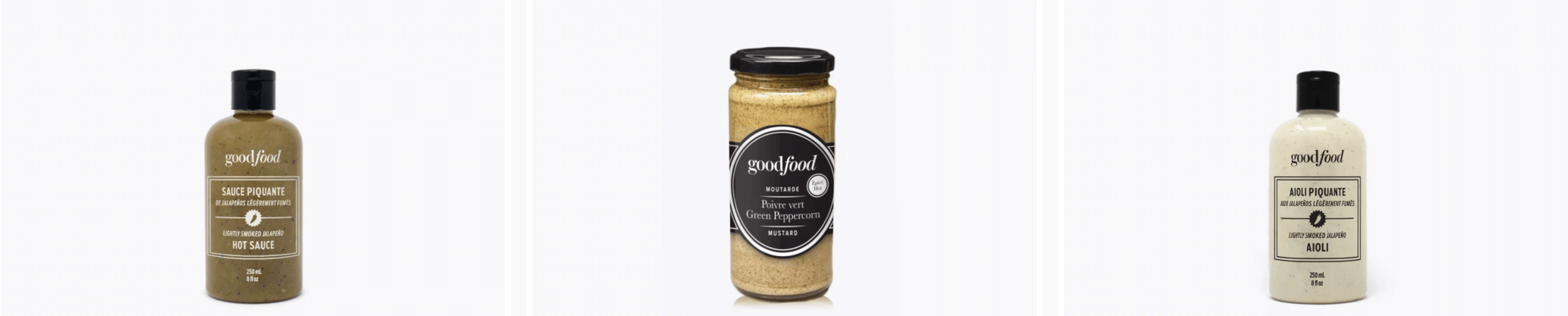 Product shots of 3 Goodfood hot sauces