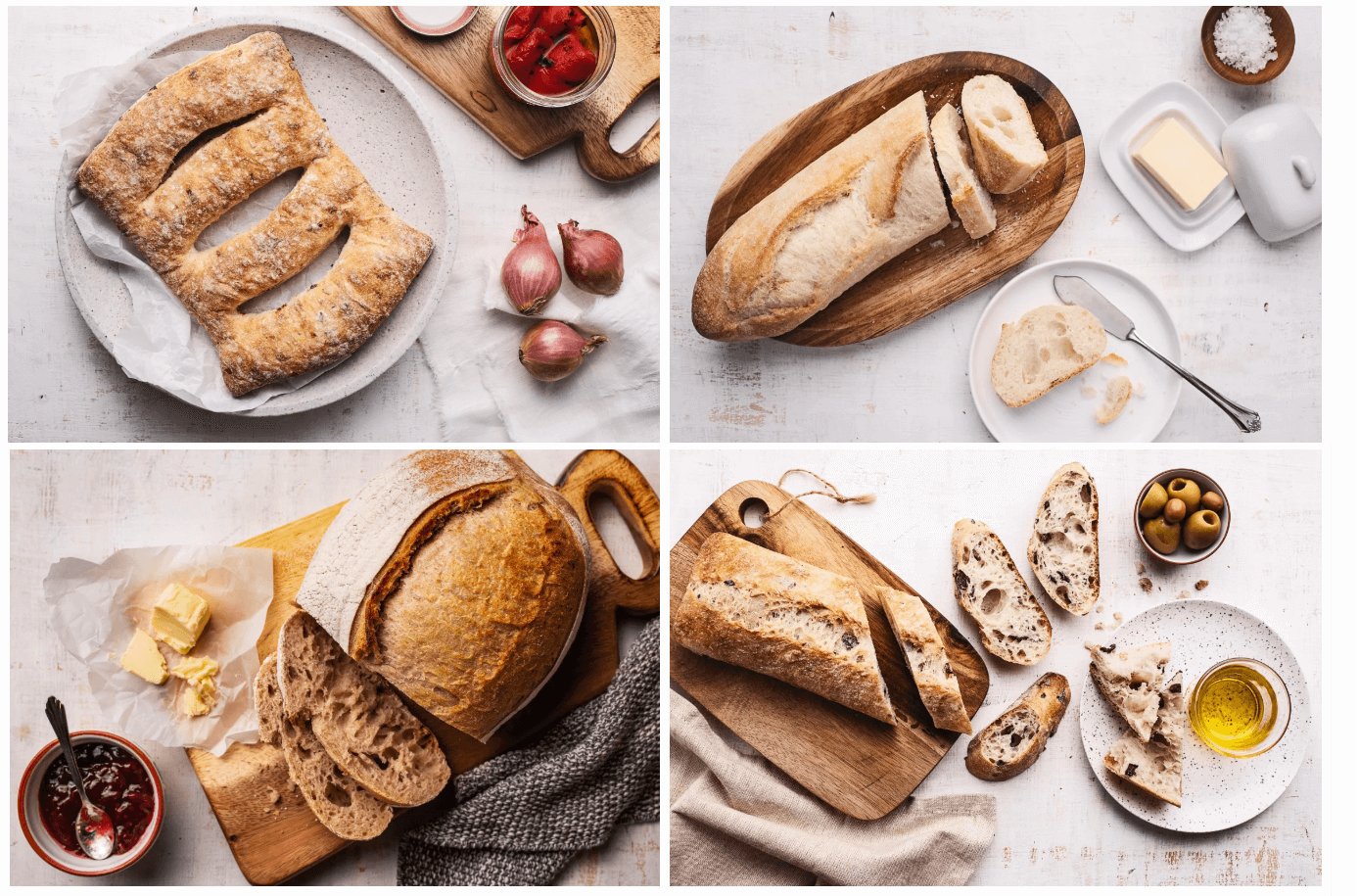 4 images of Goodfood ready to bake bread options that are baked and sliced