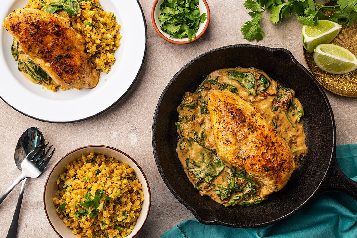 Coconut Curry Chicken Skillet with Golden Cauli-Rice
