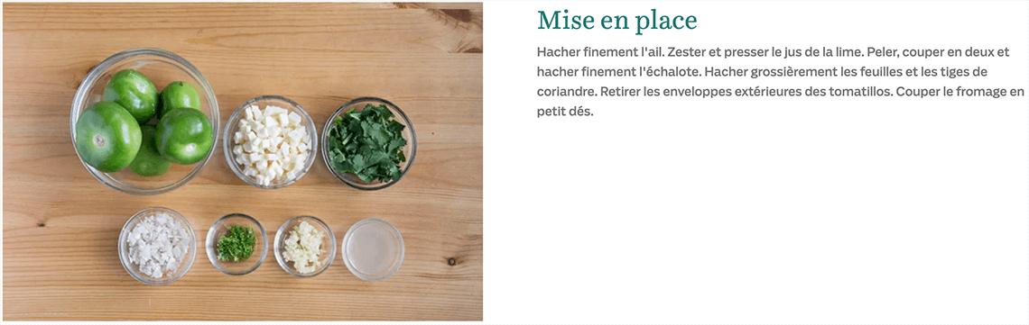 Étape de mise en place pour la recette de tacos Marché Goodfood
