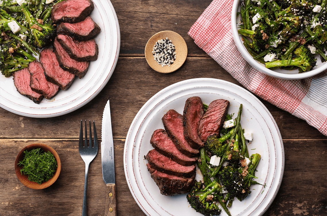 Spice-Rubbed Seared Steaks with Warm Broccoli, French Bean and Feta Salad