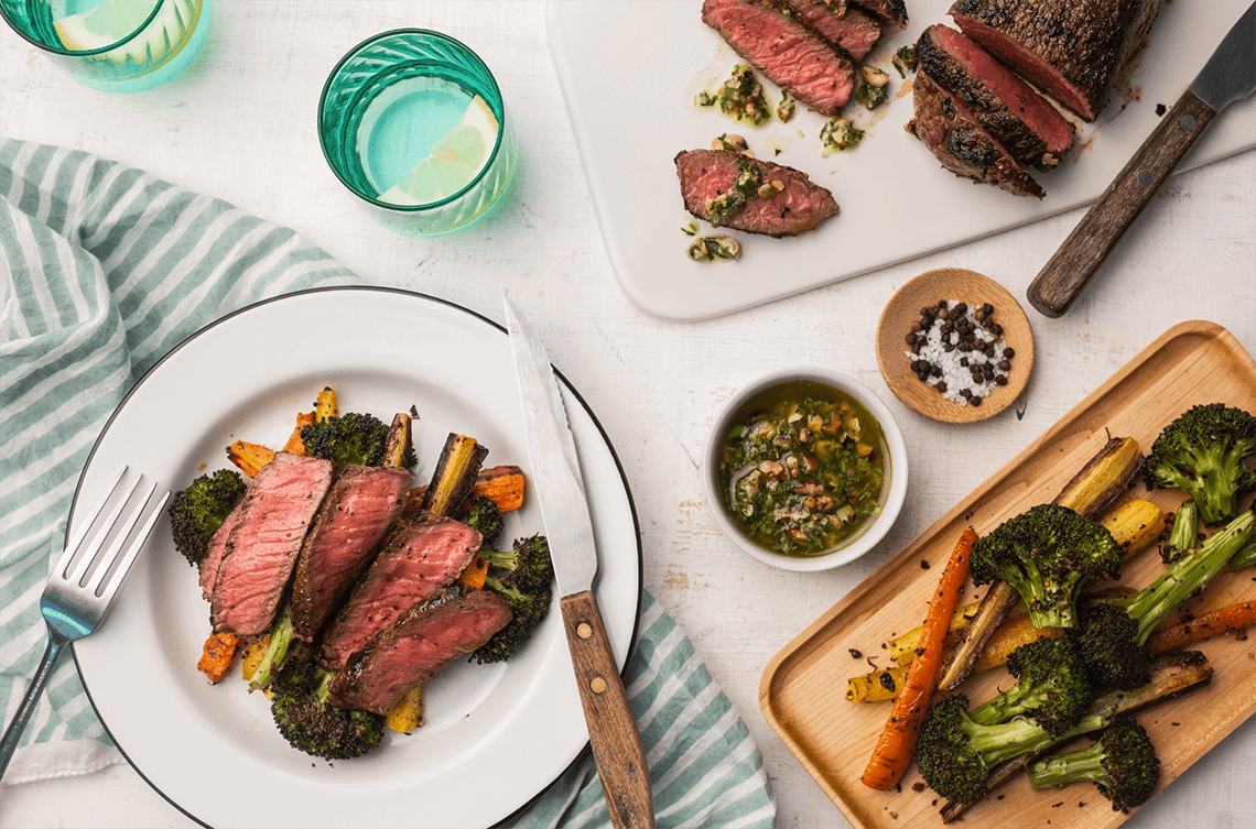 Steaks with Rustic Walnut-Parsley Pesto Charred Broccoli and Carrots