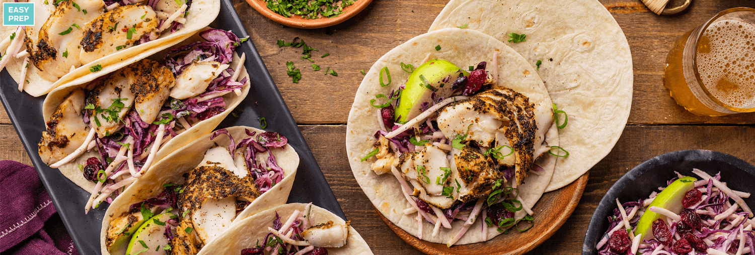 Spiced Haddock Tacos with Cranberry, Apple and Red Cabbage Slaw