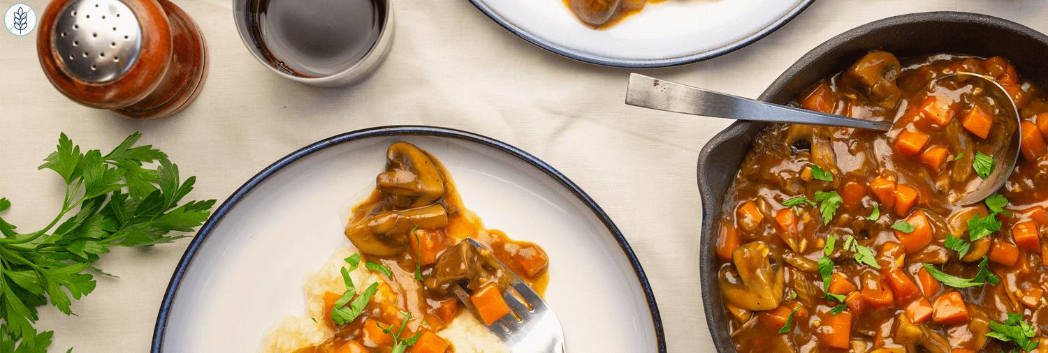 Vegetarian Bourguignon with Porcini and Cremini Mushrooms over Celery Root Mash