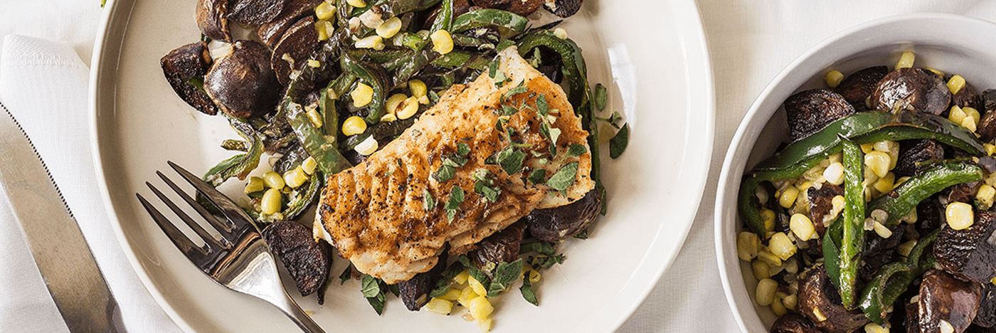 Brown Butter Cod with Blue Potatoes, Poblano Pepper, and Corn