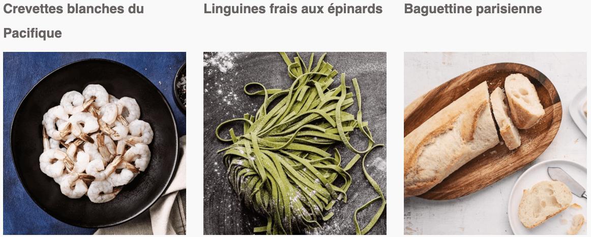 Crevettes blanches du Pacifique, Linguines frais aux épinards, Baguettine parisienne