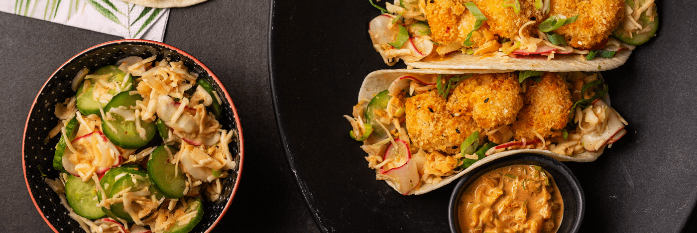 Crispy Shrimp Tacos with Kimchi Mayo and Radish Salad