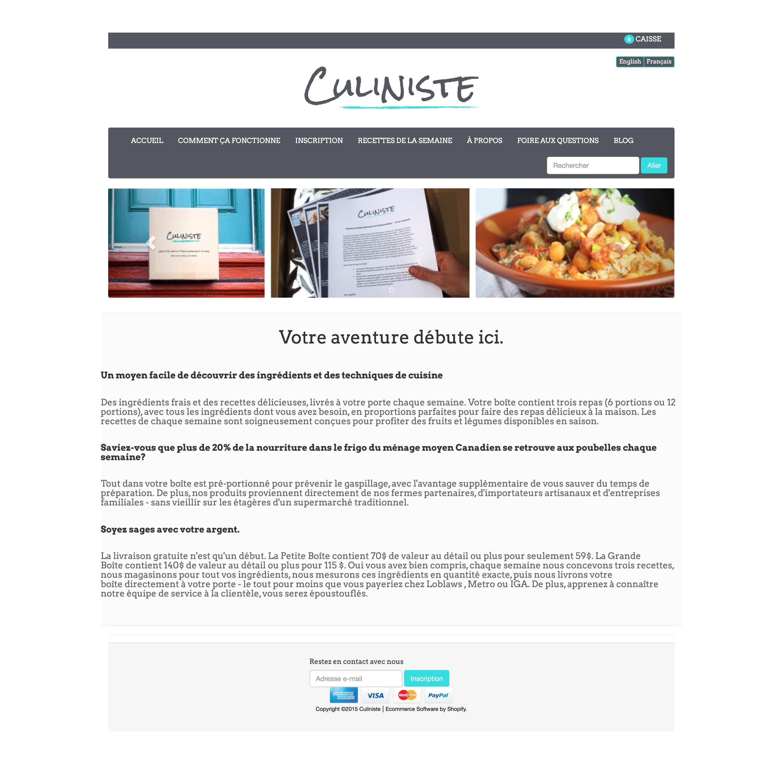 site web du Culiniste 2015