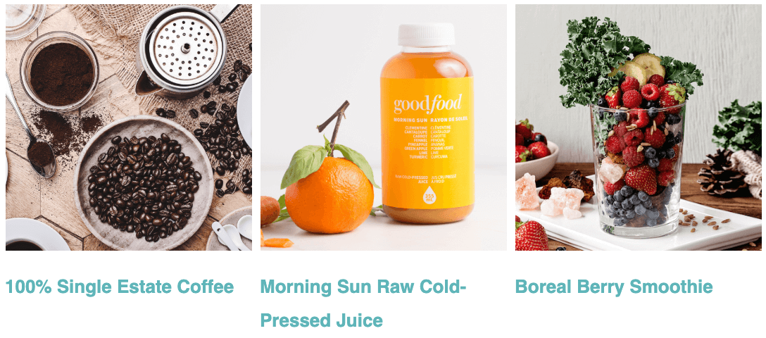 coffee, juice, and smoothies