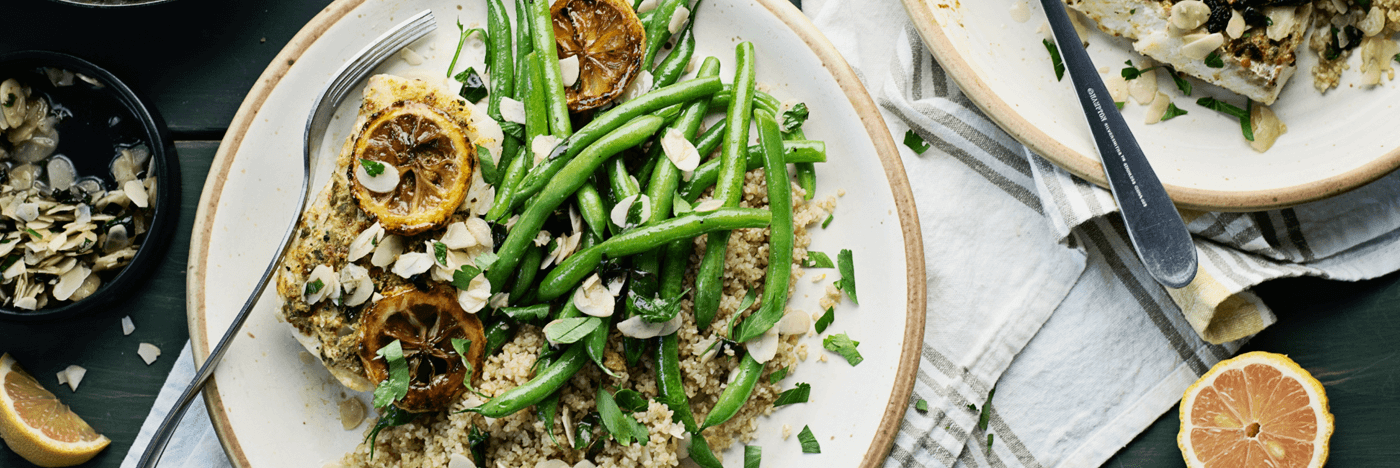 Haddock Amandine with Grilled Pink Lemon Bulgur and Sautéed Green Beans
