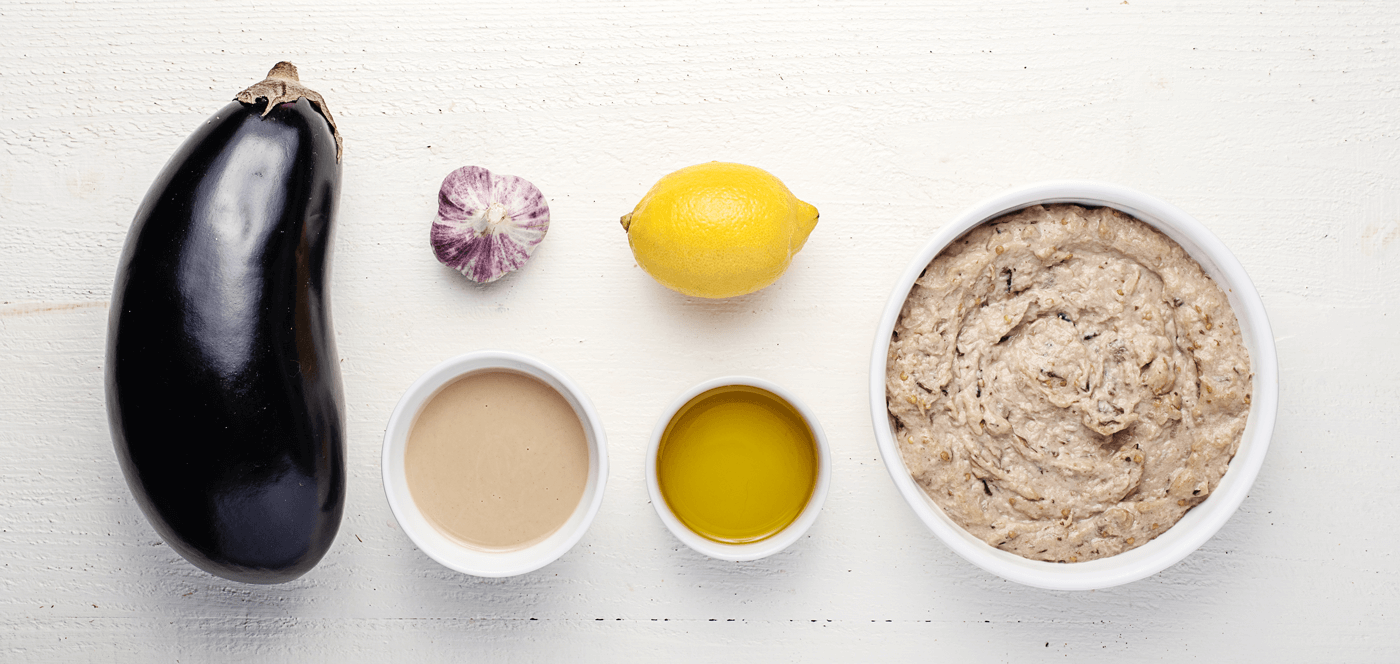 line of baba ghanoush ingredients