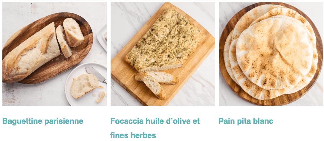 Baguettine parisienne, Focaccia huile d'olive et fines herbes, et Pain pita blanc