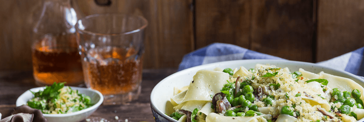Fresh Pappardelle with Black Oyster Mushrooms, Green Peas, and Gremolata Breadcrumbs