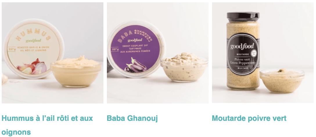 Hummus à l'ail rôti et aux oignons, Baba Ghanouj, Moutarde poivre vert