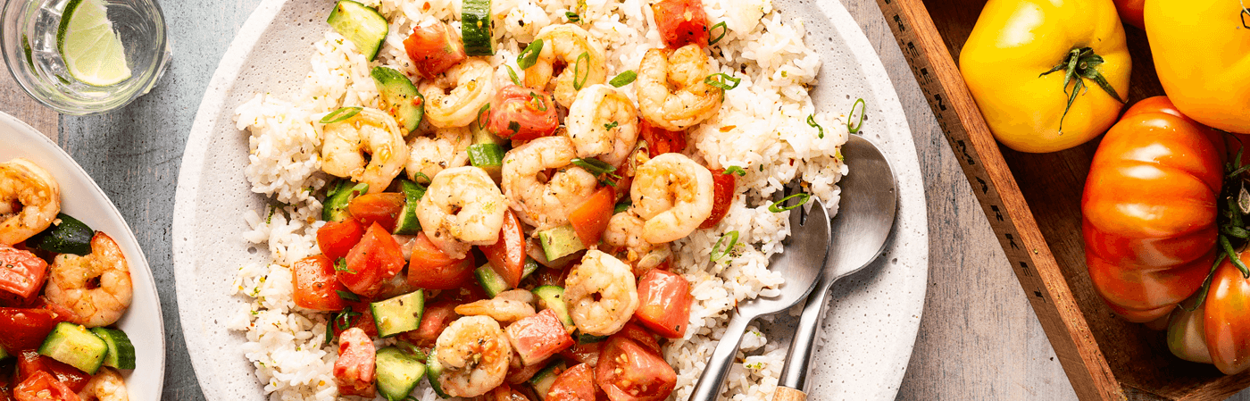Thai-Style Shrimp Salad over Zesty Rice with Heirloom Tomatoes