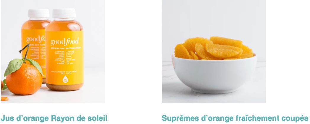 Jus Rayon de soleil et suprêmes d'orange fraîchement coupés
