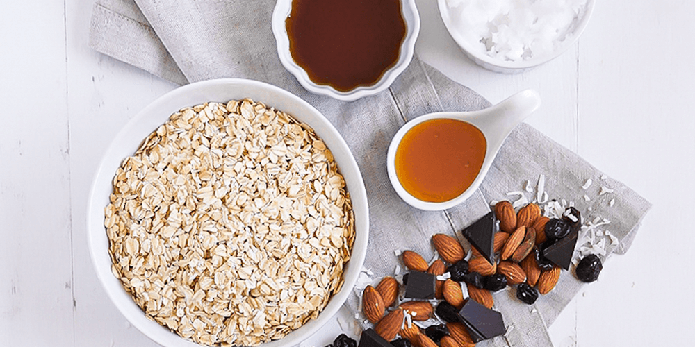 Pantry granola featuring oats, almonds, chocolate, and oil