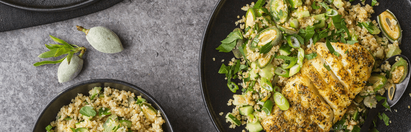 Seared cod with green almonds recipe