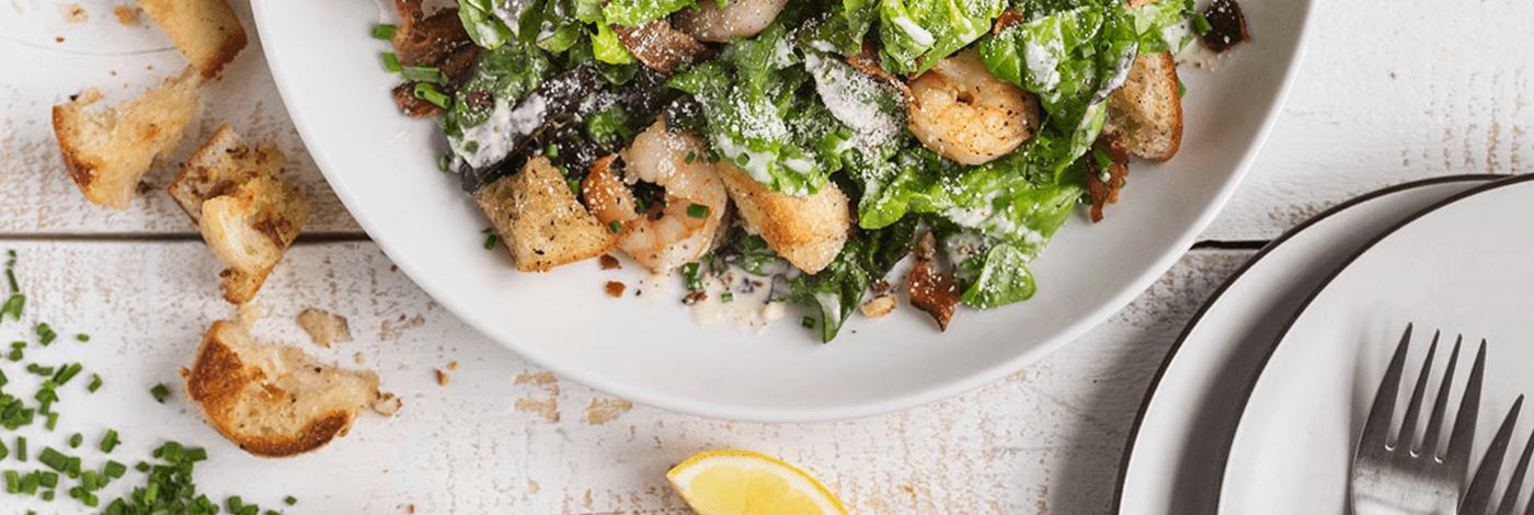 Bacon and Shrimp Caesar Salad with Homemade Garlic Croutons