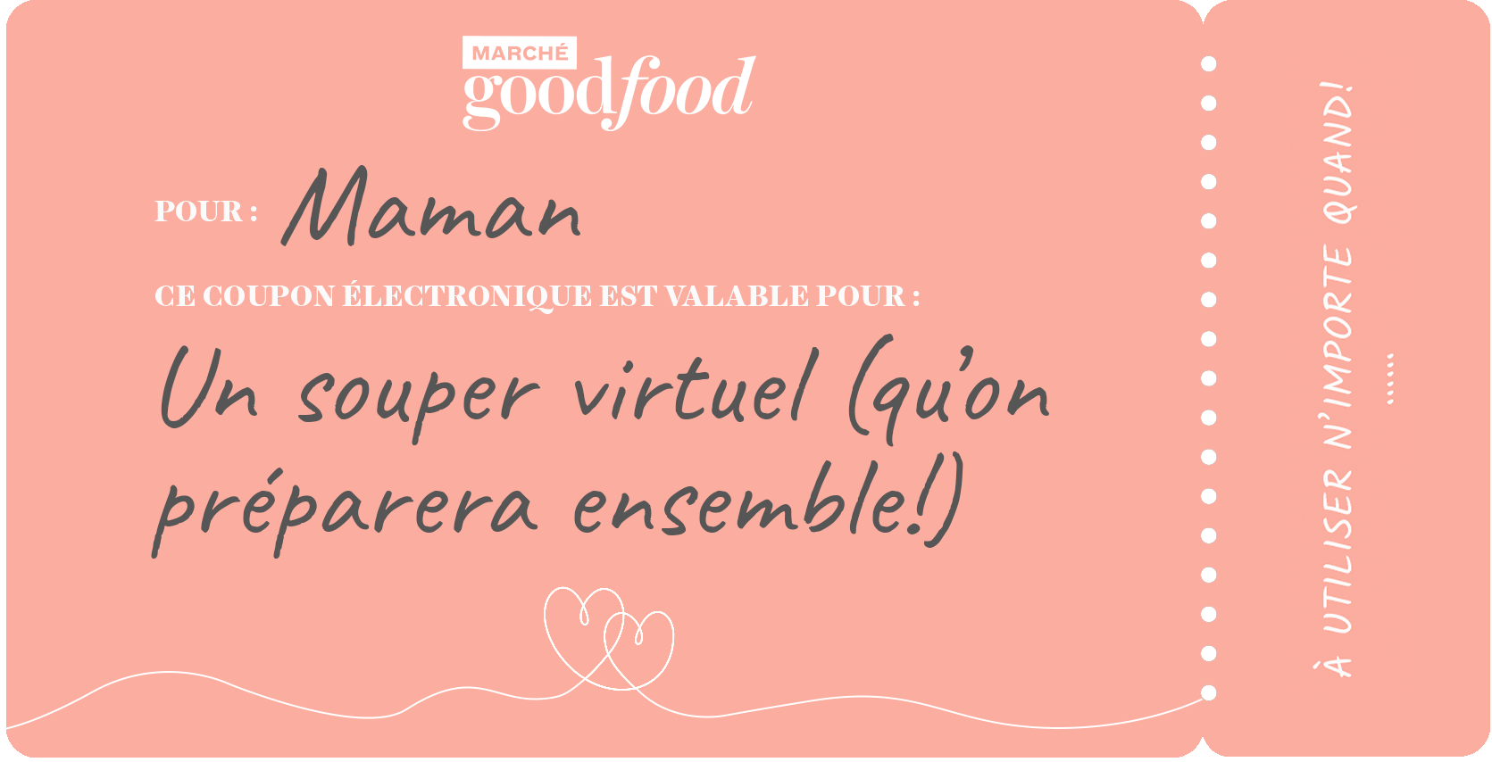 Exemple de coupon, date du dîner virtuel