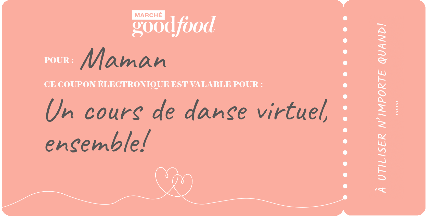 Exemple de coupon, cours de danse